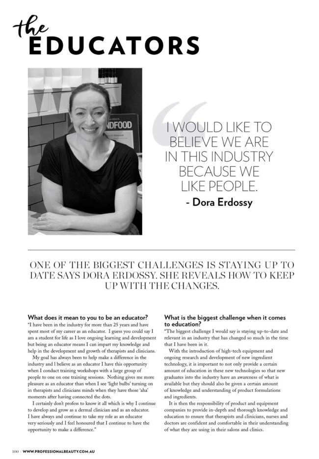 Our National Educator, Dora Erdossy, profiled in Professional Beauty Magazine's ...