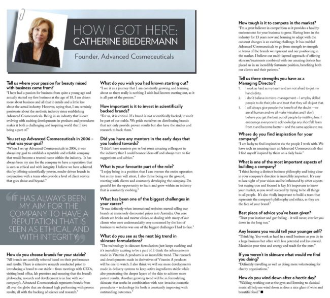 Professional Beauty Magazine's interview with our Managing Director, Catherine...