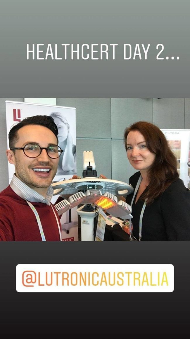 Victoria and Bryce stylishly manning the stand at HealthCert Education for Medic...